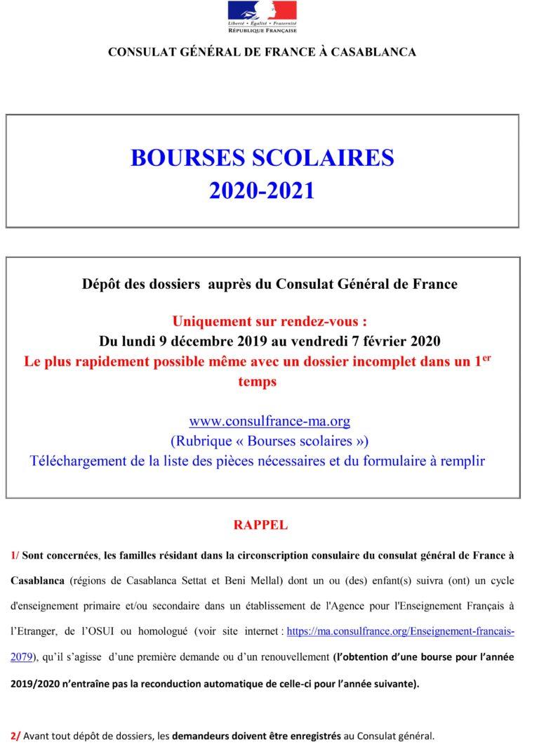 BOURSES SCOLAIRES 2020-2021
